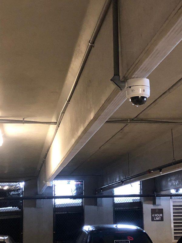 Dome security camera garage installation